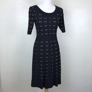 Roz & Ali Black Cream Dot Sweater Dress S A51